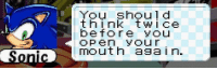 Sonic, Asa, and Think: think twice  before yOu  OPe yOur  mouth asa in.  Sonic