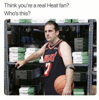 Funny, Heat, and Via: Think you're a real Heat fan?  Who's this?  HEA  903  9001  903J  s0alIw  2Y30 🤔🤔 👉🏽(via:@miamiheatislife)