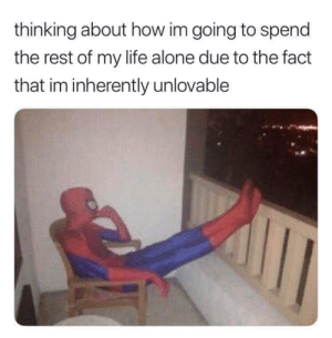 Being Alone, Life, and MeIRL: thinking about how im going to spend  the rest of my life alone due to the fact  that im inherently unlovable meirl