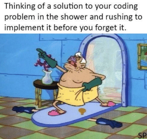 Shower, Computer, and Coding: Thinking of a solution to your coding  problem in the shower and rushing to  implement it before you forget it.  SP TO THE COMPUTER!