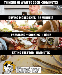 Memes, 🤖, and Last Minute: THINKING OF WHAT TO COOK 30 MINUTES  BUYINGINGREDIENTS-45 MINUTES  PREPARING COOKING 1HOUR  EATING THE FOOD -5 MINUTES  a At Chicken neh neh prepare so  long eat so fast... next time  just order delivery liao la!! Now i understand why my laobu always get super angry when i last minute pangseh her home-cooked dinners... 😵