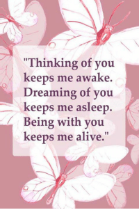 """dreaming of you: """"Thinking of you  keeps me awake.  Dreaming of you  keeps me asleep.  Being with you  N  keeps me alive."""""""
