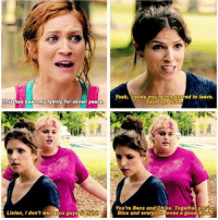 Family, Memes, and Yeah: Thiobas my family for seven years  Luston, I don't wantrou guys  Yeah,  Rcause you retoogcated to leave.  You're Beca and Chloe. Together youro  Bloe and everyono oves a good Pitch Perfect