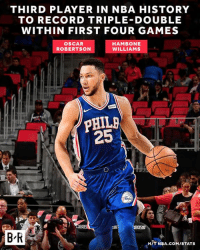 Ben Simmons didn't need much time to join the record books.: THIRD PLAYER IN NBA HISTORY  TO RECORD TRIPLE DOUBLE  WITHIN FIRST FOUR GAMES  OSCAR  ROBERTSON  HAMBONE  WILLIAMS  25  B'R  HIT NBA.COM/STATS Ben Simmons didn't need much time to join the record books.
