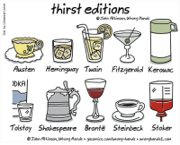 Shakespeare, Tumblr, and Blog: thirst editions  Tohn Atkinson, Wrong Hands  Austen Hemingway Twain Fitzgerald Kerouac  DKA  Tolstoy Shakespeare Brontë Steinbeck Stoker  © Iohn Atkinson, wrong Hands . gocomics .com/wrong-hands . wronghands1.com nevver:Drink up and be somebody