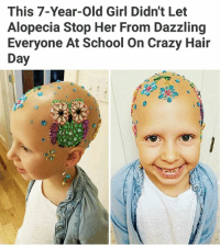 Beautiful, Crazy, and Memes: This 7-Year-old Girl Didn't Let  Alopecia Stop Her From Dazzling  Everyone At School on Crazy Hair  Day She's beautiful. | For more @aranjevi