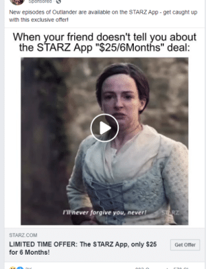 This ad for Starz on Facebook made to look like a meme: This ad for Starz on Facebook made to look like a meme