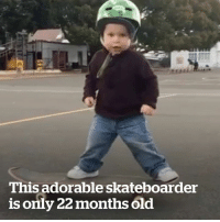 Skateboarding, Old, and Adorable: This adorable skateboarder  is only 22 months old This toddler can skateboard at only 22 months! 🙌