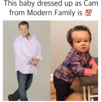 Willing to babysit this child, free of charge. DM me. (@boywithnojob): This baby dressed up as Cam  from Modern Family is Willing to babysit this child, free of charge. DM me. (@boywithnojob)