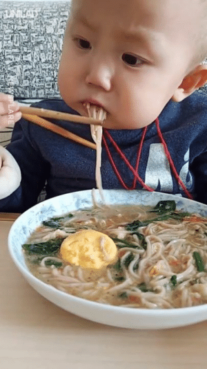 Dank, Baby, and 🤖: This baby is better with chopsticks than I'll ever be 😂😂