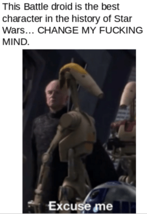 YOU CANT CHANGE MY DAMN MIND: This Battle droid is the best  character in the history of Star  Wars... CHANGE MY FUCKING  MIND.  Excuse me YOU CANT CHANGE MY DAMN MIND
