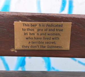 Saw, True, and Women: This bench is dedicated  to those pro ud and true  Irishmen and women,  who have lived with  a terrible secret  they don't like Guinness. saw this on Grattan Bridge in Dublin (i.redd.it)
