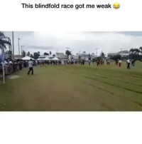 Memes, Good, and Race: This blindfold race got me weak Who thought this was a good idea? 😂 Credit: @hanzo143