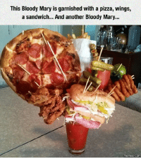 Brittany: This Bloody Mary is garnished with a pizza, wings,  a sandwich... And another Bloody Mary...  COM Brittany