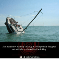Memes, 🤖, and  Boating: This boat is not actually sinking. It was specially designed  so that it always looks like it's sinking  G a weird worldinsta The Fantastic Forever Sinking Boat by Julien Berthier