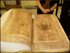 Book, Old, and Meter: This book is 800 years old, tall 1 meter, thick about 60 cm. It is known as the devils book