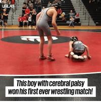 Dank, Wrestling, and Match: This boywith cerebral palsy  won his first everwrestiling match! This boy with cerebral palsy overcame all the odds to win his first EVER wrestling match 👏👏