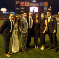 What an incredible last night raising over $500,000 to fight pediatric cancer. Thank you to everyone who came out to support us, the @sfgiants, @dickiev_espn, his wife Lorraine, @caabaseball and the @thevfoundation. Kristen and I look forward to continuing our efforts to try to find a cure and beat childhood cancer kcancer bp28: THIS BUDrs  FOR YOU.  Adobe  -salesforce €  PlayStation  GREATNESS  AWAITS  ME What an incredible last night raising over $500,000 to fight pediatric cancer. Thank you to everyone who came out to support us, the @sfgiants, @dickiev_espn, his wife Lorraine, @caabaseball and the @thevfoundation. Kristen and I look forward to continuing our efforts to try to find a cure and beat childhood cancer kcancer bp28