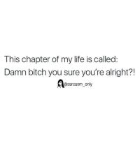 Bitch, Funny, and Life: This chapter of my life is called:  Damn bitch you sure you're alright?!  @sarcasm_only SarcasmOnly