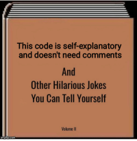 Break, Jokes, and Hilarious: This code is self-explanatory  and doesn't need comments  And  Other Hilarious Jokes  You Can Tell Yourself  Volume II And after a break, you dont remember anything