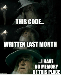 And thats why you comment: THIS CODE..  WRITTEN LAST MONTH  .I HAVE  NO MEMORY  OF THIS PLACE  imgflip.com And thats why you comment