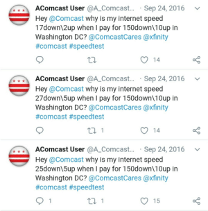 This Comcast user who set up a bot to tweet Comcast whenever his internet speed is lower than what he has paid for.: This Comcast user who set up a bot to tweet Comcast whenever his internet speed is lower than what he has paid for.