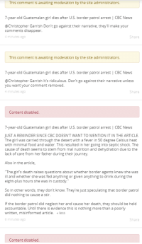 """Food, Girls, and Journey: This comment is awaiting moderation by the site administrators.  7-year-old Guatemalan girl dies after U.S. border patrol arrest 