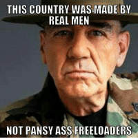 Memes, Patriotic, and Pansies: THIS COUNTRY WASMADE BY  REAL MEN  NOT PANSY ASS FREELOADERS Agree or disagree? Let us know in the comments below and follow us for more at Pissed Off Patriots