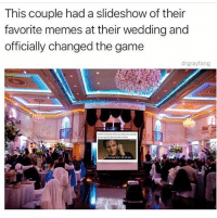 Funny, Goals, and Memes: This couple had a slideshow of their  favorite memes at their wedding and  officially changed the game  drgrayfang This is wedding goals fr 😂