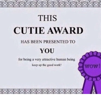 Memes, Wow, and Work: THIS  CUTIE AWARD  HAS BEEN PRESENTED TO  YOU  for being a very attractive human being  keep up the good work  wow https://t.co/3xGxp7NGZR