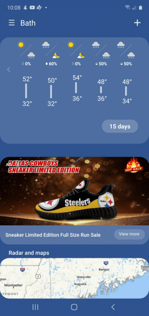 This Dallas Cowboys themed shoe ad shows Pittsburgh Steelers theme instead.: This Dallas Cowboys themed shoe ad shows Pittsburgh Steelers theme instead.