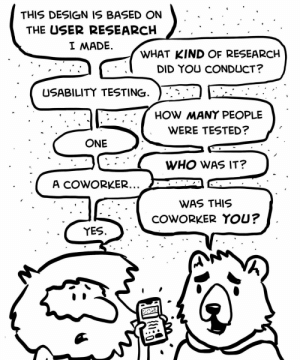 Designing as a Programmer: THIS DESIGN IS BASED ON  THE USER RESEARCH  I MADE  WHAT KIND OF RESEARCH  DID YOU CONDUCT?  USABILITY TESTING  HOW MANY PEOPLE  WERE TESTED?  ONE  WHO WAS IT?  A COWORKER...  WAS THIS  COWORKER YOU?  YES Designing as a Programmer