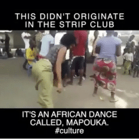 America, Booty, and Club: THIS DIDN'T ORIGINATE  IN THE STRIP CLUB  IT'S AN AFRICAN DANCE  CALLED, MAPOUKA  Learn your history and culture... Mapouka is Congolese for booty dance if I'm not mistaken? @Regrann from @chimeedwards - Left cheek, right cheek lol This traditional dance originated south east of the Ivory Coast in Dabou. From its inception, Manpouka was usually carried out when some religious or other grand ceremony was being conducted. It eventually spread to the west and the rest of the African countries. People around the world are often shun for this type of dance but there is no reason to be ashamed💃🏽 Many people don't realize how connected they are to the homeland even if they've never been. Many Africans in America are attracted to certain music (base-loud drums) dances, styles, etc. b-c of our genetics. The same goes for other ethnicities. It's important to know more about the continent your people came from and the cultural significance of things we include in our daily lives. We should know what our culture was before we were brought to a country that was hell bent on controlling or destroying all the others. Most of us know American history like the backs of our hands but what about African history?🤔 Anywho, that lady ain't a traaaaaamp-just cause she bounce it up and down like a trampoline lol It's natural and it's her culture ❤️🖤💚 chakabars