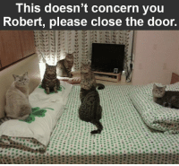Memes, 🤖, and Page: This doesn't concern you  Robert, please close the door. Make sure to like the Tickld page for more!
