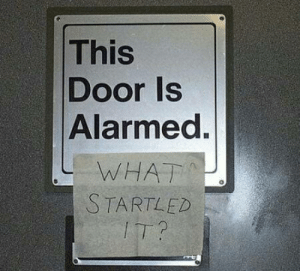 Yay! I found my old archives. I'll be posting memes from the Golden Age: This  Door Is  Alarmed.  WHAT  STARTLED  IT? Yay! I found my old archives. I'll be posting memes from the Golden Age