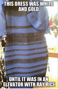 TheDress: THIS DRESS WAS WHITE  AND GOLD  NFL MEMES  UNTIL IT WAS IN AN  ELEVATOR WITH RAY RICE TheDress