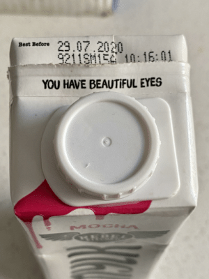 """This drink container has a nice compliment next to the """"best before"""" date: This drink container has a nice compliment next to the """"best before"""" date"""