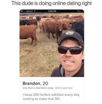 Dating, Dude, and Online Dating: This dude is doing online dating right  00000 Verizon  11:04 PM  Brandon, 20  less than a kilometer away Active just now  l keep 300 heifers satisfied every day,  looking to make that 301