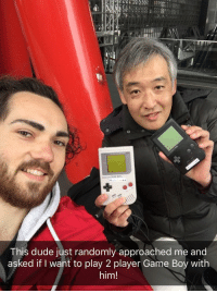 <p>While waiting at Kyoto Station this guy asked if I want to play two player Game Boy with him. 30 mins well spent.</p>: This dude just randomly approached me and  asked if I want to play 2 player Game Boy with  him! <p>While waiting at Kyoto Station this guy asked if I want to play two player Game Boy with him. 30 mins well spent.</p>