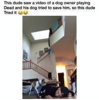 Lmfaooo wasted no time 😂 👉🏽(via:@larrayox): This dude saw a video of a dog owner playing  Dead and his dog tried to save him, so this dude  Tried it Lmfaooo wasted no time 😂 👉🏽(via:@larrayox)