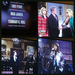 """Alive, Money, and Mick Jagger: This episode, hosted by  14  DL  LUKE PERRY  MICK JAGGER  FEBRUARY 6, 199,  and featuring musical guest  originally aired on  as part of SNL's 18th season.  rs 25 years ago if someone said. """"1 person,out of these 5, will still be alive in 25 years"""", would your money have been on Mick?"""