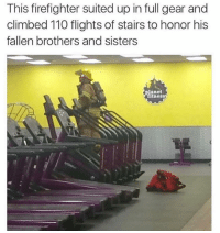 Andrew Bogut, Gym, and Firefighter: This firefighter suited up in full gear and  climbed 110 flights of stairs to honor his  fallen brothers and sisters  planet  tness What a guy 💪💯