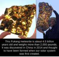 Fukang Meteorite: This Fukang meteorite is about 4.5 billion  years old and weighs more than 2,000 pounds.  It was discovered in China in 2014 and thought  to have been formed when our solar system  was first created.