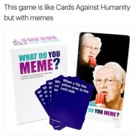Restock 💫  https://whatdoyoumeme.com   — Products shown: Core Game.: This game is like Cards Against Humanity  but with memes  DO YOU  MEME  A friends.  and their NI Wh When u N th  over the  st al  ba cold to side  the  s C  DO  YOU MEME? Restock 💫  https://whatdoyoumeme.com   — Products shown: Core Game.
