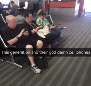 Funny, God, and Millennials: This generation and their god damn cell phones These darn millennials via /r/funny https://ift.tt/2P4rDun