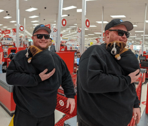 This gentleman at Target who reversed his hooded sweatshirt to make a puppy pocket (via): This gentleman at Target who reversed his hooded sweatshirt to make a puppy pocket (via)