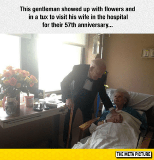 laughoutloud-club:  True Gentleman: This gentleman showed up with flowers and  in a tux to visit his wife in the hospital  for their 57th anniversary...  THE META PICTURE laughoutloud-club:  True Gentleman