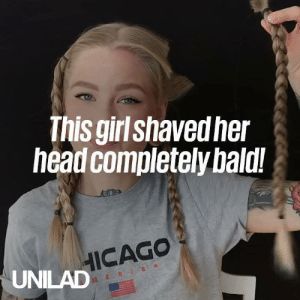 Dank, Head, and Girl: This girl shavedher  head completely bald!  HICAGO  UNILAD Taking the leap to completely shave your hair off is scary, but the end results are incredible... 😍  Katrin Berndt
