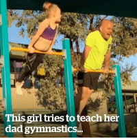 Dad, Gym, and Girl: This girl tries to teach her  dad gymnastics.. This girl tries to teach her dad gymnastics and he's a fast learner 😍  Credit: IG: my_gym_dad