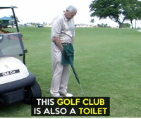 A putty potty.: THIS GOLF CLUB  IS ALSO A TOILET A putty potty.